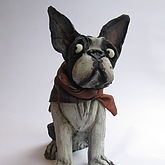 Handmade Ceramic Boston Terrier Dog Sculpture