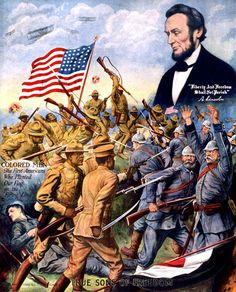 True Sons of Freedom – Vintagraph.  This poster shows Abraham Lincoln looking down upon African American soldiers fighting German soldiers during World War I: 'True Sons of Freedom. Colored Men: The First Americans Who Planted Our Flag on the Firing Line. 'Liberty and Freedom Shall Not Perish.' A. Lincoln.' An inscription on the poster reads: '1918 by Chas. Gustrine. Chicago, Ill.' This poster was used to encourage African-American participation in WWI.