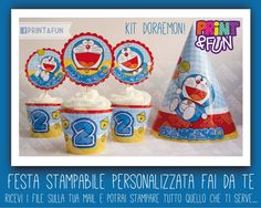 Doraemon party - printables. Party Kit, Tea Party, Craft Activities For Kids, Crafts For Kids, Doraemon Cake, Birthday Celebration, Birthday Parties, Anime Fnaf, Super Party