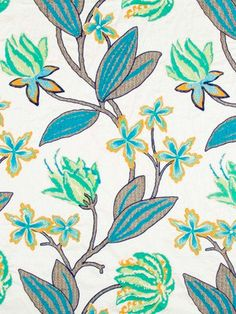 Blue Floral Linen - Contemporary Drapery - Embroidered Fabric Floral - Blue Drapery Fabric - Padded Headboard - Embroidered Throw Pillow