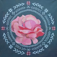 Traditional Latvian folk symbols with a pink rose on grey. Acrylic on canvas, 40x40cm.