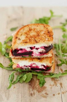 Roasted beet, goat cheese and arugula grilled cheese yum!