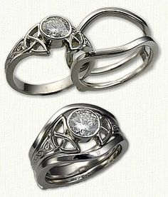 14kt White Gold Celtic Alysia Style Engagement Mounting set with a 14kt white gold plain Cradle
