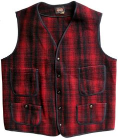 c.1940 Woolrich railroadvest  |  This vintage vest was made in Woolrich, Pennsylvania by the Woolrich Woolen Mills. The vest is made of Woolrich's signature mackinaw wool.