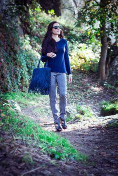 Blue, Basic Blouse Sleeve, Pants Bloomer.