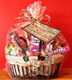 50th Birthday Candy Basket and Poem DIY Gift. Candy Basket/Gift Basket