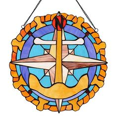 Anchor Ships Wheel Compass Rose Stained Glass -- Click image to review more details.(This is an Amazon affiliate link)