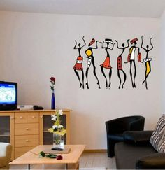 StickersKart Wall Stickers Wall Decals African Dancing Women 5761 on October 20 2016. Check details and Buy Online, through PaisaOne.