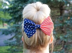 Red White and Blue American Flag Fabric Hair by themanebowtique, $7.00