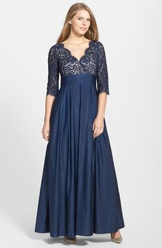 Free shipping and returns on Eliza J Lace & Faille A-Line Gown at Nordstrom.com. Scalloped eyelash-fringe lace wraps into the surplice-neck bodice of this Empire-waist evening gown. The crisp woven-faille fabric enhances the fullness of the skirt.