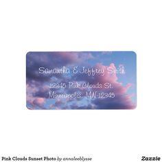 Pink Clouds Sunset Photo Label Different Font Styles, Pink Clouds, Sunset Photos, Online Gifts, Diy Face Mask, Purple Wedding, Dog Design, Label, Kids Shop