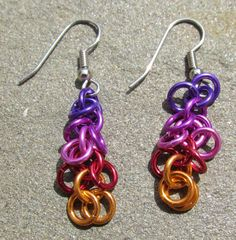 Chain Maille Earrings Shaggy Loops Purple Violet by XairianMaille, $8.00