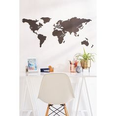 World Map Chalkboard Write-On Wall Decal Set ($46) ❤ liked on Polyvore featuring home, home decor, office accessories and urban outfitters
