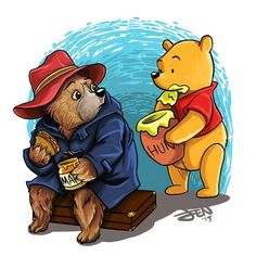 Paddington and Pooh having a snack