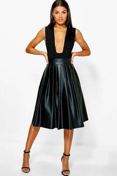 Tia Bow Detail Leather Look Midi Skirt