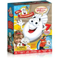 """Mr Scrambles The Talking Game Playing Egg by Educational Insights. $19.95. Keeps kids moving to games timed activities songs. Includes washable cloth covering giant spoon egg cup. Develops cooperation gross motor skills following directions. For Grades Pre K and up Ages 3 6. Requires 3 AA batteries not included. Mr. Scrambles says, """"Hands on your nose!"""" This Talking Game-Playing Egg combines laughter and learning in 7 interactive games that keep children moving a..."""