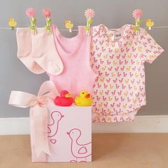 This gorgeous little ducky baby girl hamper includes a Gingerlilly baby ducky printed body suit as well as a baby singlet and pair of baby socks along with two cute little ducky baby bath squirters. All beautifully gift boxed. Baby Gift Hampers, Baby Hamper, Baby Socks, Baby Girl Gifts, Baby Design, New Baby Products, Rompers, Suit, Bath