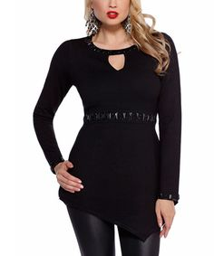 Another great find on #zulily! Belldini Black Embellished Keyhole Top by Belldini #zulilyfinds