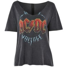 Women's Topshop Ac/dc Relaxed V-Neck Tee (€44) ❤ liked on Polyvore featuring tops, t-shirts, shirts, v-neck shirt, v-neck tee, t shirts, v neck t shirts and relaxed tee