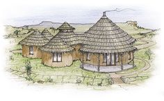 Modern rondavel two-family house design by Jonno Smith houseplant tattoo houseplant tattoo tattoo house plants African Hut, African Theme, Round House Plans, House Floor Plans, Tiny House Loft, Tiny Houses, Octagon House, Method Homes, Black King And Queen
