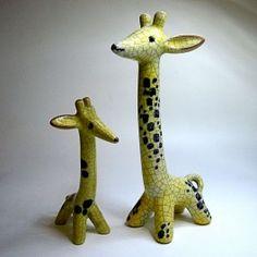 Seltenes Keramik Giraffen Paar  11   17 cm Walter Bosse Karlsruher Majolika