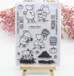 Lovely Mouse Bear Mice Baby Transparent Clear Silicone Stamp/Seal for DIY scrapbooking/photo album Decorative Stamp Dies Sheets