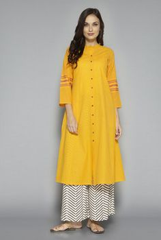 Utsa by Westside Yellow Solid Kurta Kurta Designs Women, Salwar Designs, Blouse Designs, Pakistani Dresses, Indian Dresses, Indian Outfits, Simple Dresses, Casual Dresses, Fashion Dresses