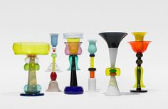 Ettore Sottsass was an Italian architect and designer of the late century. His body of designs included furniture, jewelry, glass, lighting and office machine design. Memphis Design, Murano, Late 20th Century, Machine Design, Oil Lamps, Colorful Decor, Fused Glass, Glass Art, Shapes