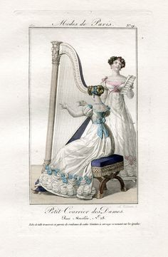 Harp and singing. 1821 Petit courrier des dames - plate 19