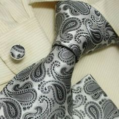NEW Designer Silver Plaids 100% Jacquard Woven Silk Tie Hanky Mens Necktie and Cuff Links Black Ties Cufflinks and Handkerchiefs Set H5008