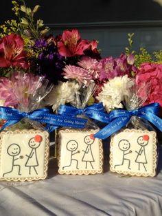 Sugar Dot Cookies: Stick Figure Engagement Couple Sugar Cookies