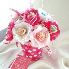 Fiesta Favor Lollipop Sucker papel flores caliente rosa y blanco Valentine día o cumpleaños con metro muestra etiqueta personalizada