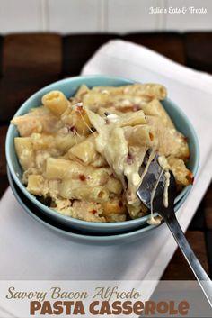 Savory Bacon Alfredo Pasta Casserole ~ Creamy pasta dish smothered in a savory bacon Alfredo sauce! via www.julieseatsandtreats.com
