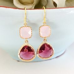 Blush Wedding Dangle Earrings Pink Blush by AvaHopeDesigns on Etsy