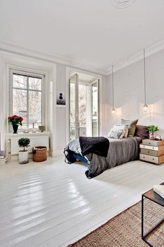 Find your favorite Minimalist living room photos here. Browse through images of inspiring Minimalist living room ideas to create your perfect home. White Painted Floors, White Wood Floors, White Flooring, Wood Flooring, Painted Floorboards, White Floorboards, Plywood Floors, Bedroom Flooring, Painted Wooden Floors