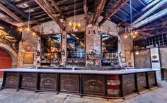 An old auto garage now a beer hall Houston Hall, NYC