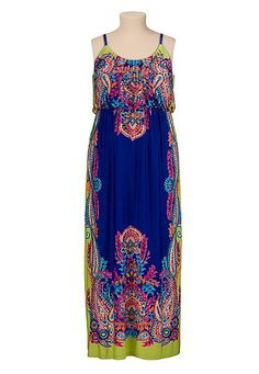 Bright paisley print plus size maxi dress (original price, $49) available at #Maurices
