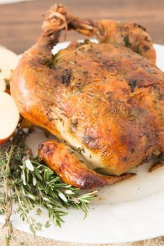 This is our favorite and totally perfect herb roasted chicken and its sauce is seriously divine!