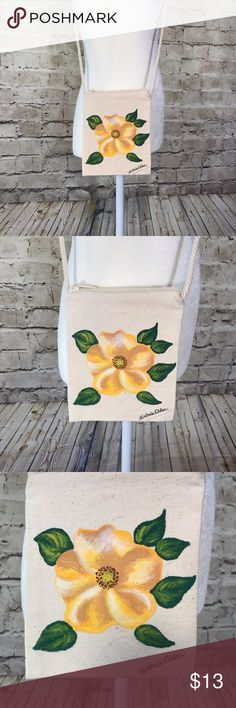 Small Canvas Purse with Painted Yellow Rose New. Canvas purse on a string  with hand 1158b6eb98