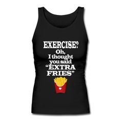 Exercise Extra Fries Funny Gym Anti-Workout Tank Top | MPpredesigned | ID: 100220380