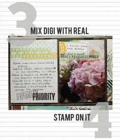 """Washi Tape: 3. """"Mix digi with real: Adding a strip of real washi to a printed digital journaling card with a cool tape design adds a little dimension. It's also a great way to change up the color scheme on the printable."""" -- 4. """"Stamp on it: A strip of washi tape on a photo is a perfect spot to stamp a sentiment or date. Just be sure to use an ink like StazOn so it doesn't smear!  EasyJournaling.com"""