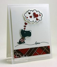This assortment of hearts was punched out with the Heart Border Punch and placed inside a thought bubble created with the Just Sayin' stamp set and Word Bubbles Framelits.
