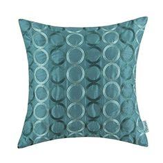 "Euphoria CaliTime Contempo Decorative Throw Pillow Cushion Covers Pillowcase Shell Faux Silk Two-tone Circles Rings Chain Embroidered Teal Color 18"" X 18"" Euphoria http://www.amazon.com/dp/B00YY3YAOQ/ref=cm_sw_r_pi_dp_eLk0wb14R8PCC"