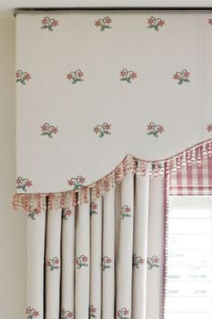 This pattern and design really caught my eye. Look at the level of detail with a beaded trim, banded edge and checkered roman shade underneath. How To Make Curtains, Curtains With Blinds, Valances, Window Coverings, Window Treatments, Bedroom Drapes, Girls Bedroom, Pelmets, Interior Windows
