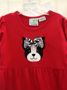 Boston Terrier applique with detachable bow. Dress by BB.