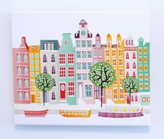 Amsterdam Canal houses (without textiles) : Cityscape Art Print / Canvas Art / Dutch Architecture    Bright and cheery depiction of Amsterdam The