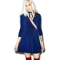 This could be another dress idea if we find blue jersey/stretch fabric and rainbow ribbon.