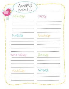 Weekly menu planner printout