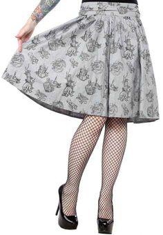 130722 Love Crafty Gray Swing Skirt Sourpuss Pinup Punk Rockabilly Medium HP New 190153014808 Zombie Style, Dress Skirt, Midi Skirt, Swing Rock, Sourpuss Clothing, Punk Rock Outfits, Plus Size Kleidung, Swing Skirt, Gray Skirt