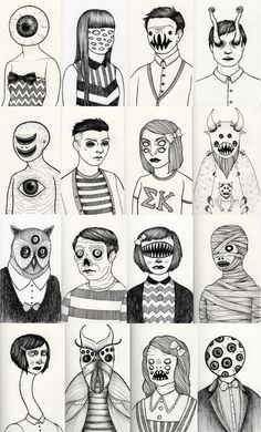 rather creepy illustrations. Art And Illustration, Illustration Inspiration, Illustrations, Monster Illustration, Creepy Art, Weird Art, Drawing Sketches, Art Drawings, Weird Drawings